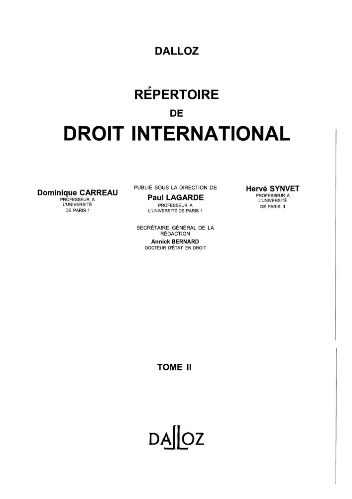 Répertoire de droit internationnal